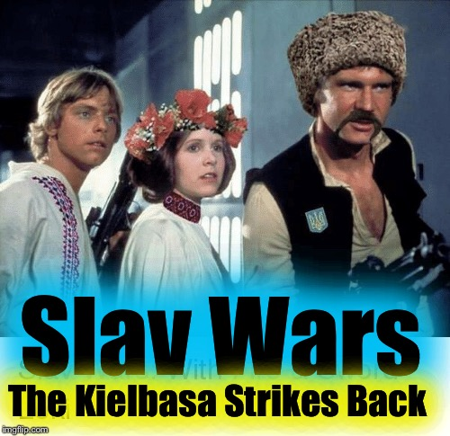 Dark Vodka has vowed to destroy Dimirtri Han Solovski, Luke SkyVodka and Princess Leia Perogi! Who will get smashed first? |  Slav Wars; The Kielbasa Strikes Back | image tagged in slav,memes,evilmandoevil,star wars,funny | made w/ Imgflip meme maker