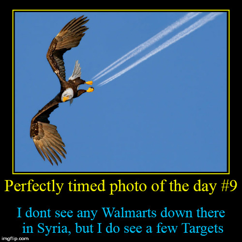 Perfectly timed photo of the day #9 | I dont see any Walmarts down there in Syria, but I do see a few Targets | image tagged in funny,demotivationals | made w/ Imgflip demotivational maker