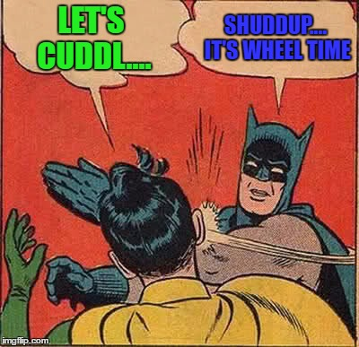Batman Slapping Robin Meme | LET'S CUDDL.... SHUDDUP.... IT'S WHEEL TIME | image tagged in memes,batman slapping robin | made w/ Imgflip meme maker