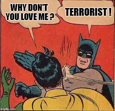 Batman Slapping Robin Meme | WHY DON'T YOU LOVE ME ? TERRORIST ! | image tagged in memes,batman slapping robin | made w/ Imgflip meme maker