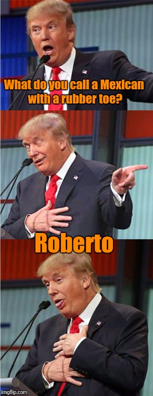 Bad Pun Trump | What do you call a Mexican with a rubber toe? Roberto | image tagged in bad pun trump,memes,a miss finlayson meme | made w/ Imgflip meme maker