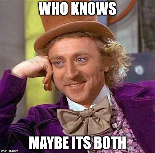 Creepy Condescending Wonka Meme | WHO KNOWS MAYBE ITS BOTH | image tagged in memes,creepy condescending wonka | made w/ Imgflip meme maker