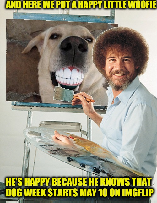 Bob Ross promotes Dog week, May 10 - 17, during Bob Ross Week | AND HERE WE PUT A HAPPY LITTLE WOOFIE HE'S HAPPY BECAUSE HE KNOWS THAT DOG WEEK STARTS MAY 10 ON IMGFLIP | image tagged in bob ross week,dog week,promo | made w/ Imgflip meme maker