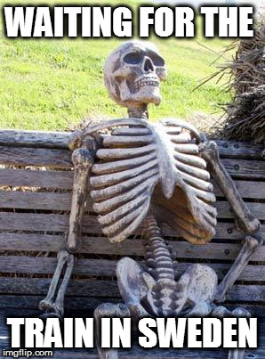 Always late man, always...  | WAITING FOR THE TRAIN IN SWEDEN | image tagged in memes,waiting skeleton,sweden,train | made w/ Imgflip meme maker