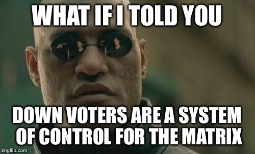 Don't be fooled by the deception Upvote only........an Opan_irl event | WHAT IF I TOLD YOU DOWN VOTERS ARE A SYSTEM OF CONTROL FOR THE MATRIX | image tagged in memes,matrix morpheus,funny,animals,dogs,gifs | made w/ Imgflip meme maker