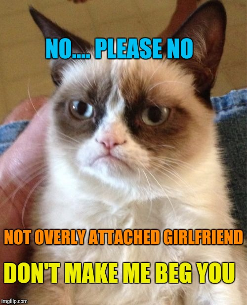 Grumpy Cat Meme | NO.... PLEASE NO NOT OVERLY ATTACHED GIRLFRIEND DON'T MAKE ME BEG YOU | image tagged in memes,grumpy cat | made w/ Imgflip meme maker