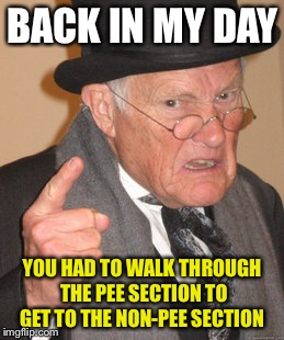 Back In My Day Meme | BACK IN MY DAY YOU HAD TO WALK THROUGH THE PEE SECTION TO GET TO THE NON-PEE SECTION | image tagged in memes,back in my day | made w/ Imgflip meme maker