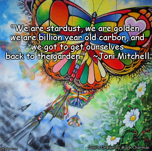 "Bombers Into Butterflies | ""We are stardust, we are golden, we are billion year old carbon, and we got to get ourselves back to the garden.""   ~Joni Mitchell Joni's Dr 