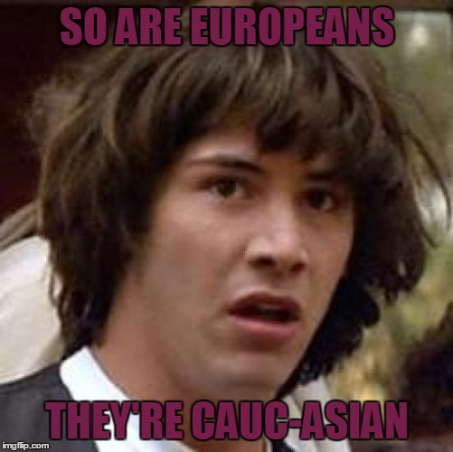 Conspiracy Keanu Meme | SO ARE EUROPEANS THEY'RE CAUC-ASIAN | image tagged in memes,conspiracy keanu | made w/ Imgflip meme maker