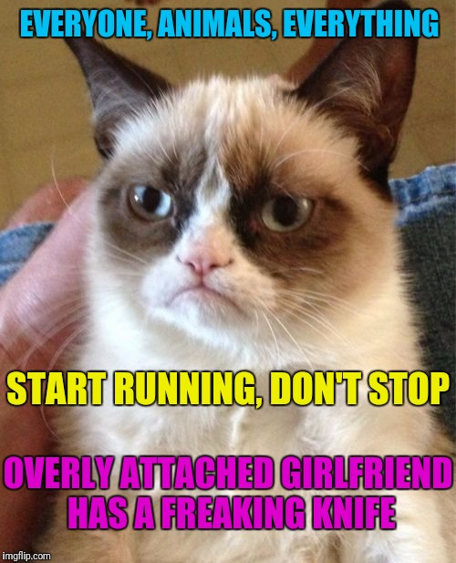Grumpy Cat Meme | EVERYONE, ANIMALS, EVERYTHING START RUNNING, DON'T STOP OVERLY ATTACHED GIRLFRIEND HAS A FREAKING KNIFE | image tagged in memes,grumpy cat | made w/ Imgflip meme maker