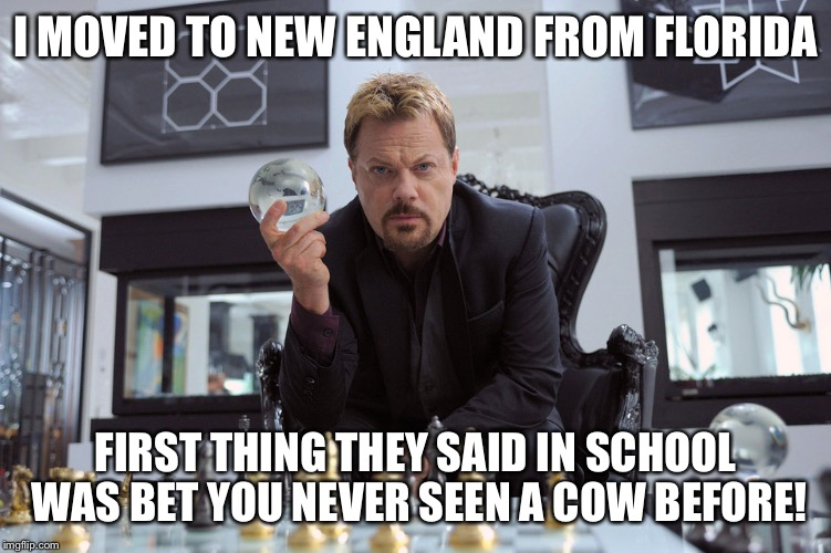 Eddy Izzard | I MOVED TO NEW ENGLAND FROM FLORIDA FIRST THING THEY SAID IN SCHOOL WAS BET YOU NEVER SEEN A COW BEFORE! | image tagged in eddy izzard | made w/ Imgflip meme maker