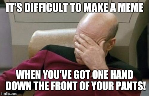 Captain Picard Facepalm Meme | IT'S DIFFICULT TO MAKE A MEME WHEN YOU'VE GOT ONE HAND DOWN THE FRONT OF YOUR PANTS! | image tagged in memes,captain picard facepalm | made w/ Imgflip meme maker