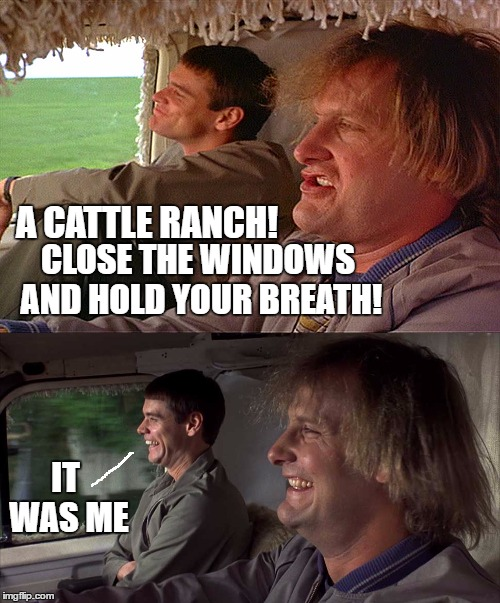 A CATTLE RANCH! IT WAS ME CLOSE THE WINDOWS AND HOLD YOUR BREATH! | made w/ Imgflip meme maker