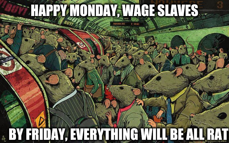 Garfield was right | HAPPY MONDAY, WAGE SLAVES BY FRIDAY, EVERYTHING WILL BE ALL RAT | image tagged in mondays,wage slaves,work week,rat race | made w/ Imgflip meme maker