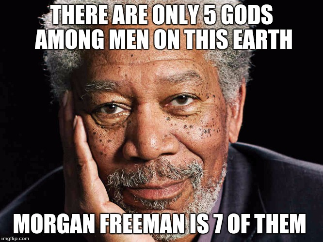 You probably read that in his voice | THERE ARE ONLY 5 GODS AMONG MEN ON THIS EARTH MORGAN FREEMAN IS 7 OF THEM | image tagged in morgan freeman,god,deez nutz | made w/ Imgflip meme maker
