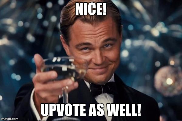 Leonardo Dicaprio Cheers Meme | NICE! UPVOTE AS WELL! | image tagged in memes,leonardo dicaprio cheers | made w/ Imgflip meme maker