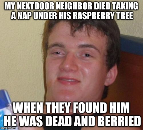 10 Guy Meme | MY NEXTDOOR NEIGHBOR DIED TAKING A NAP UNDER HIS RASPBERRY TREE WHEN THEY FOUND HIM HE WAS DEAD AND BERRIED | image tagged in memes,10 guy,bad pun,bad puns | made w/ Imgflip meme maker