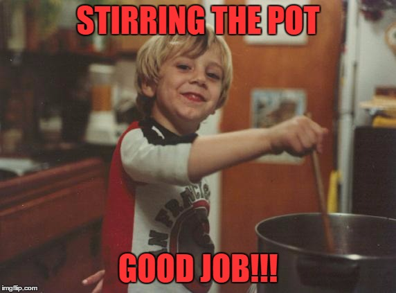 Stir the pot just for fun | STIRRING THE POT GOOD JOB!!! | image tagged in memes,controversy | made w/ Imgflip meme maker
