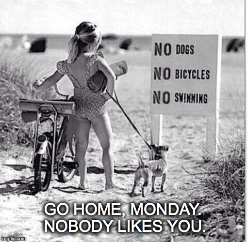 The best day of the week. Not. | GO HOME, MONDAY. NOBODY LIKES YOU. | image tagged in janey mack meme,flirty meme,funny meme,go home monday,nobody likes you,beach | made w/ Imgflip meme maker