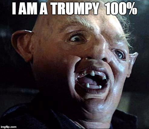 Sloth Goonies | I AM A TRUMPY  100% | image tagged in sloth goonies | made w/ Imgflip meme maker
