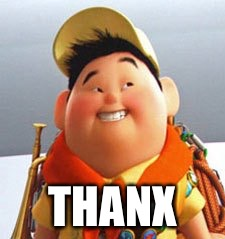 Russell | THANX | image tagged in russell | made w/ Imgflip meme maker