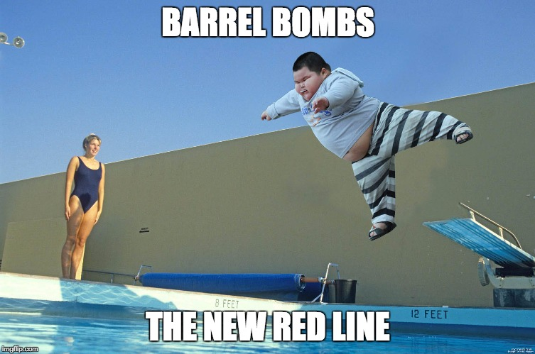 Barrel Bombs The New Red Line | BARREL BOMBS THE NEW RED LINE | image tagged in barrel bombs,red line,syria,trump,war,weapon of mass destruction | made w/ Imgflip meme maker
