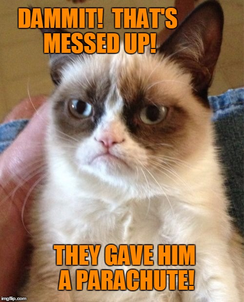 Grumpy Cat Meme | DAMMIT!  THAT'S MESSED UP! THEY GAVE HIM A PARACHUTE! | image tagged in memes,grumpy cat | made w/ Imgflip meme maker