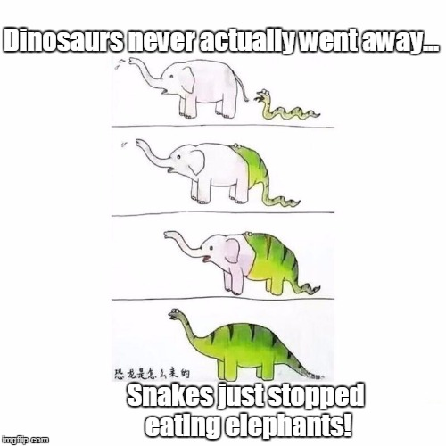 It wasn't a meteor after all |  Dinosaurs never actually went away... Snakes just stopped eating elephants! | image tagged in snake,elephant,memes,dinosaur | made w/ Imgflip meme maker