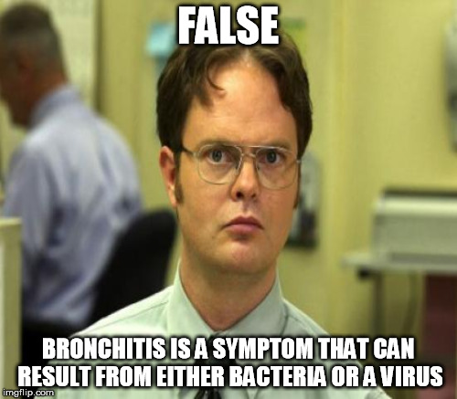 FALSE BRONCHITIS IS A SYMPTOM THAT CAN RESULT FROM EITHER BACTERIA OR A VIRUS | made w/ Imgflip meme maker