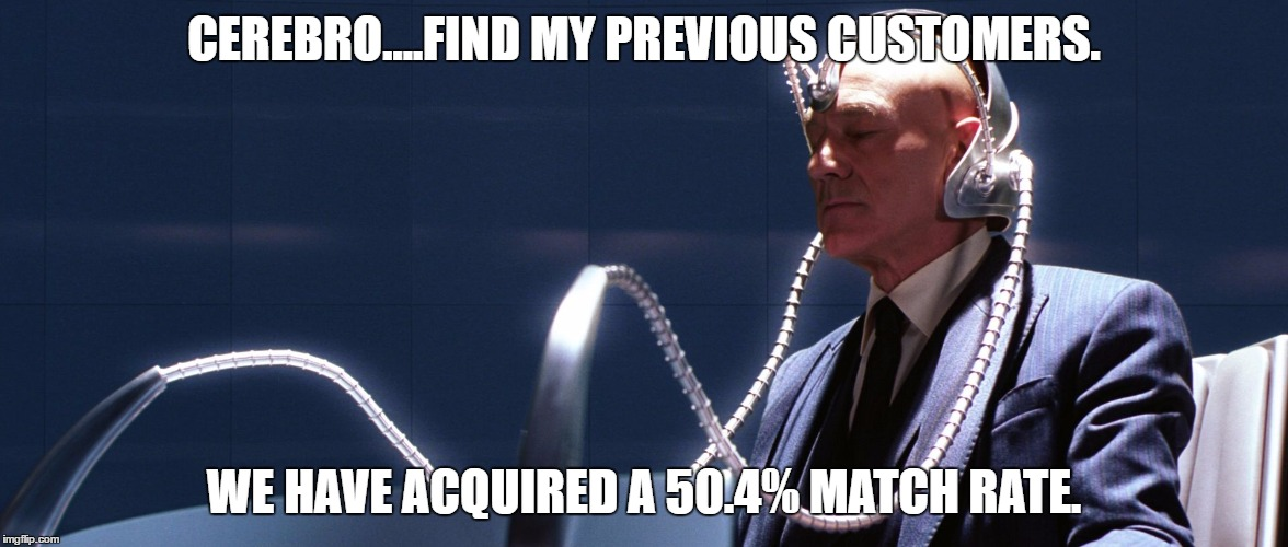 CEREBRO....FIND MY PREVIOUS CUSTOMERS. WE HAVE ACQUIRED A 50.4% MATCH RATE. | image tagged in x men cerebro | made w/ Imgflip meme maker