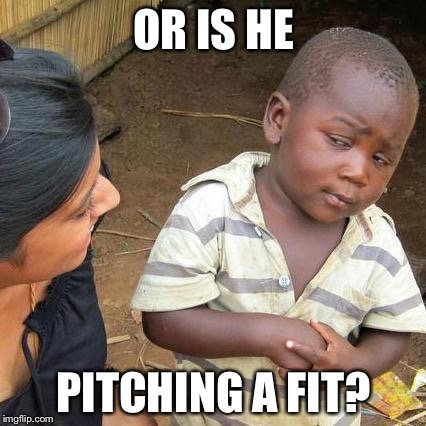 Third World Skeptical Kid Meme | OR IS HE PITCHING A FIT? | image tagged in memes,third world skeptical kid | made w/ Imgflip meme maker