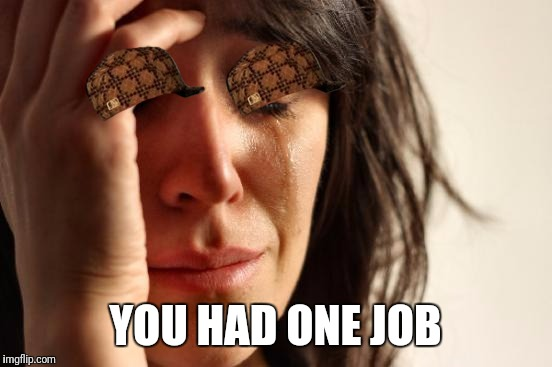 First World Problems Meme | YOU HAD ONE JOB | image tagged in memes,first world problems,scumbag | made w/ Imgflip meme maker