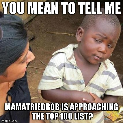 Almost at 300,000... Next icon at 340,000... 100 spot sitting at 334,704 as of this editing | YOU MEAN TO TELL ME MAMATRIEDROB IS APPROACHING THE TOP 100 LIST? | image tagged in memes,third world skeptical kid | made w/ Imgflip meme maker