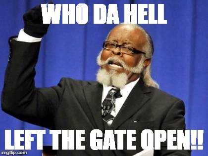 Too Damn High | WHO DA HELL LEFT THE GATE OPEN!! | image tagged in memes,too damn high | made w/ Imgflip meme maker