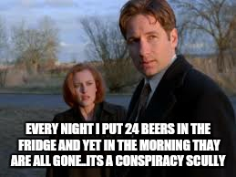 EVERY NIGHT I PUT 24 BEERS IN THE FRIDGE AND YET IN THE MORNING THAY ARE ALL GONE..ITS A CONSPIRACY SCULLY | made w/ Imgflip meme maker