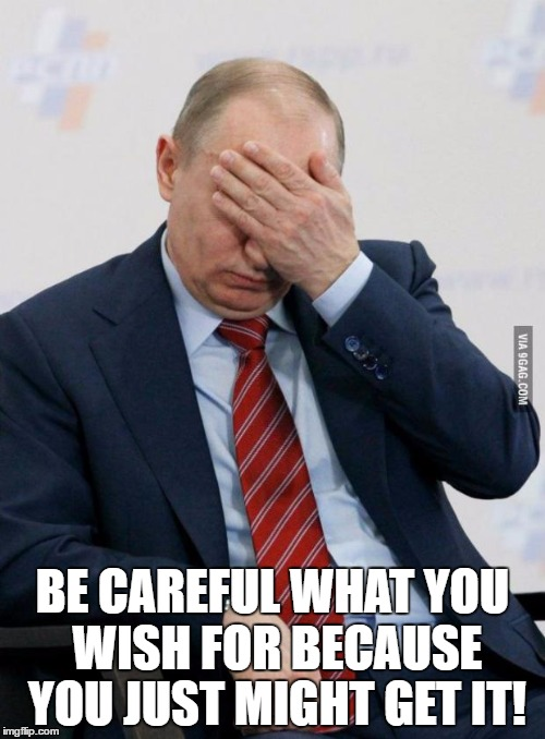 Putin Facepalm | BE CAREFUL WHAT YOU WISH FOR BECAUSE YOU JUST MIGHT GET IT! | image tagged in putin facepalm | made w/ Imgflip meme maker
