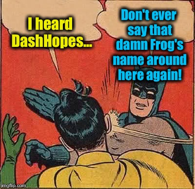 Batman Slapping Robin Meme | I heard DashHopes... Don't ever say that damn Frog's name around here again! | image tagged in memes,batman slapping robin | made w/ Imgflip meme maker