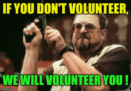 Am I The Only One Around Here Meme | IF YOU DON'T VOLUNTEER, WE WILL VOLUNTEER YOU ! | image tagged in memes,am i the only one around here | made w/ Imgflip meme maker