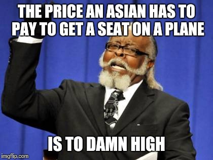 Back in my day one beat down didn't win no civil rights movement, but | THE PRICE AN ASIAN HAS TO PAY TO GET A SEAT ON A PLANE IS TO DAMN HIGH | image tagged in memes,too damn high | made w/ Imgflip meme maker