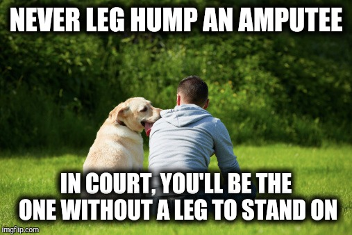NEVER LEG HUMP AN AMPUTEE IN COURT, YOU'LL BE THE ONE WITHOUT A LEG TO STAND ON | made w/ Imgflip meme maker