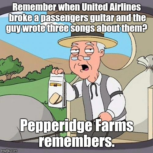 1ixr8j.jpg | Remember when United Airlines broke a passengers guitar and the guy wrote three songs about them? Pepperidge Farms remembers. | image tagged in 1ixr8jjpg | made w/ Imgflip meme maker