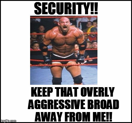 SECURITY!! KEEP THAT OVERLY AGGRESSIVE BROAD AWAY FROM ME!! | made w/ Imgflip meme maker