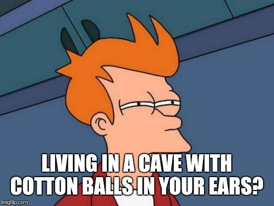 Futurama Fry Meme | LIVING IN A CAVE WITH COTTON BALLS IN YOUR EARS? | image tagged in memes,futurama fry | made w/ Imgflip meme maker