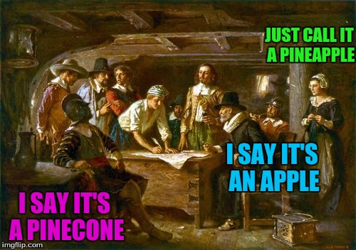 I SAY IT'S AN APPLE I SAY IT'S A PINECONE JUST CALL IT A PINEAPPLE | made w/ Imgflip meme maker