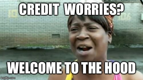 Aint Nobody Got Time For That Meme | CREDIT  WORRIES? WELCOME TO THE HOOD | image tagged in memes,aint nobody got time for that | made w/ Imgflip meme maker