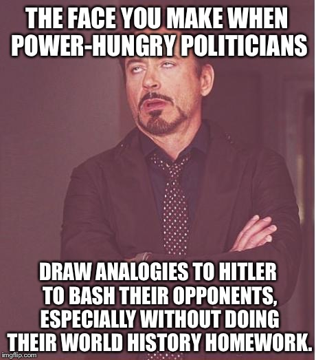 The Face You Make When Politicians Use Hitler Analogies | THE FACE YOU MAKE WHEN POWER-HUNGRY POLITICIANS DRAW ANALOGIES TO HITLER TO BASH THEIR OPPONENTS, ESPECIALLY WITHOUT DOING THEIR WORLD HISTO | image tagged in memes,face you make robert downey jr,hitler,george carlin politicians suck,sean spicer liar | made w/ Imgflip meme maker