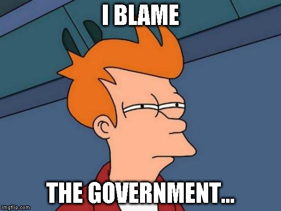 Futurama Fry Meme | I BLAME THE GOVERNMENT... | image tagged in memes,futurama fry | made w/ Imgflip meme maker