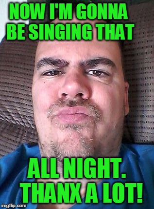 Scowl | NOW I'M GONNA BE SINGING THAT ALL NIGHT.  THANX A LOT! | image tagged in scowl | made w/ Imgflip meme maker
