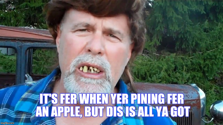 IT'S FER WHEN YER PINING FER AN APPLE, BUT DIS IS ALL YA GOT | made w/ Imgflip meme maker