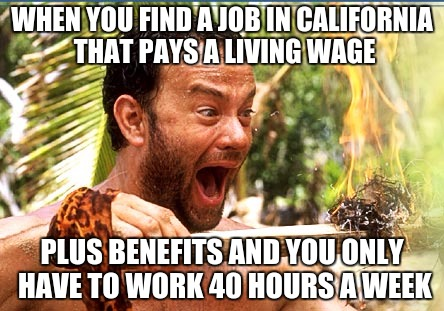 Castaway Fire Meme | WHEN YOU FIND A JOB IN CALIFORNIA THAT PAYS A LIVING WAGE PLUS BENEFITS AND YOU ONLY HAVE TO WORK 40 HOURS A WEEK | image tagged in memes,castaway fire | made w/ Imgflip meme maker